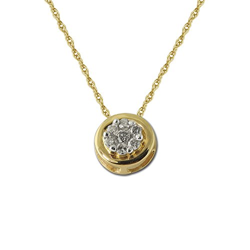 TriJewels Round Diamond Circular Cluster Pendant 1/4 ctw 14K Yellow Gold with 18 inches 14K Gold Chain