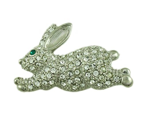 (Lilylin Designs Small Crystal Leaping Bunny Brooch Pin)