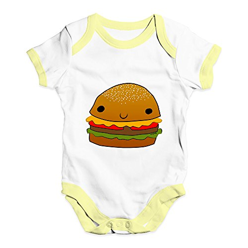 (TWISTED ENVY Funny Infant Baby Bodysuit Smiling Cheese Burger Baby Unisex Baby Grow Bodysuit 3-6 Months White Yellow Trim)