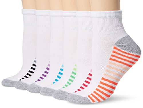 Hanes Women's 6-Pack Sport Cool Comfort Ankle, White/Grey Heather Assortment, 5-9