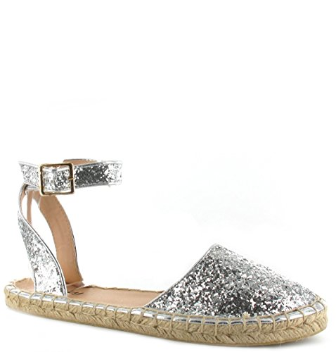 Womens Ladies Glitter Espadrilles Flat Ankle Strap Shoes sandals UK Sizes 3-9 Silver Glitter APVs167