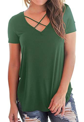 - onlypuff Womens Army Green V Neck Short Sleeve Tops Criss Cross T-Shirt Blouse M