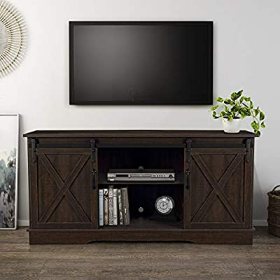 "BELLEZE Modern 58"" Sliding Barn Door Television Stand Media Console, Ashland Pine"