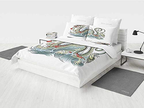 - Japanese Dragon Deadpool Bedding Set Far Eastern Water Dragon Splashing Waves Legend Creature Printing Four Pieces of Bedding Set Pale Green Vermilion Sage