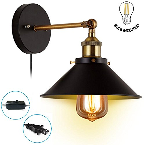 Metal Wall Sconce 1 Light Fixture E26 Base UL Plug In Cord Lighting Vintage Industrial Loft Style Wall Lamp For Bathroom Dining Room Kitchen Bedroom Bulbs Included - Fixed Arm Wall Lamp