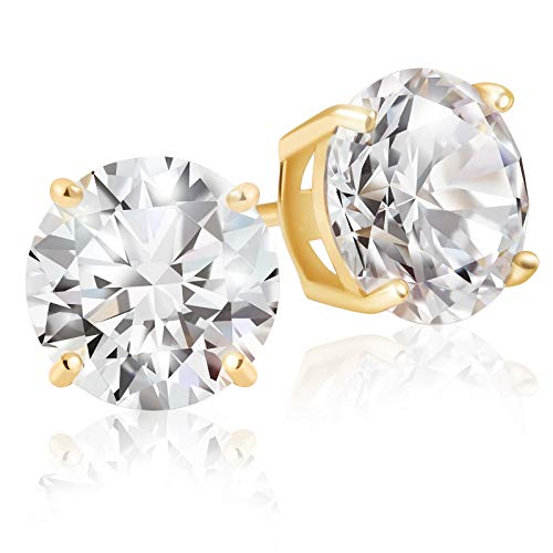 Lusoro Sterling Silver Gold Plated Round Cut AAA Cubic Zirconia Stud Earrings - 3 Carat Total Weight CZ