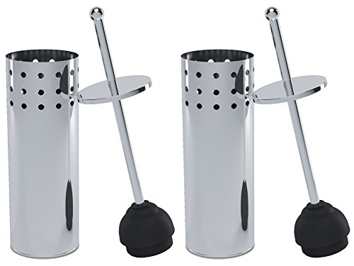 Home Intuition Chrome Vented Toilet Plunger and Canister Holder Drip Cup, 2 Pack by Home Intuition