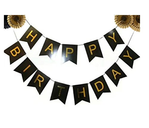 Black And Gold Foil Happy Birthday Bunting Banner. Black And Gold Shimmer Hanging Birthday Party Decorations And Party Supplies. By Premium Disposables.