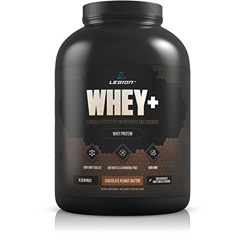 Legion Whey+ Chocolate Peanut Butter Whey Isolate Protein Powder from Grass Fed Cows, 5lb. Low Carb, Low Calorie, Non-GMO, Lactose Free, Gluten Free, Sugar Free. Great For Weight Loss & Bodybuilding.