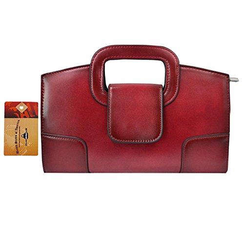 ZLM BAG US Women Vintage Flap Tote Top Handle Satchel Handbags PU Leather Clutch Purse Casual Messenger Chain Shoulder Crossbody Bag Red by ZLM BAG US