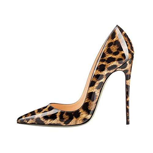 Elisabet Tang High Heels, Womens Pointed Toe Slip on Stilettos Party Wedding Pumps Basic Shoes (11, Leopard Patent)