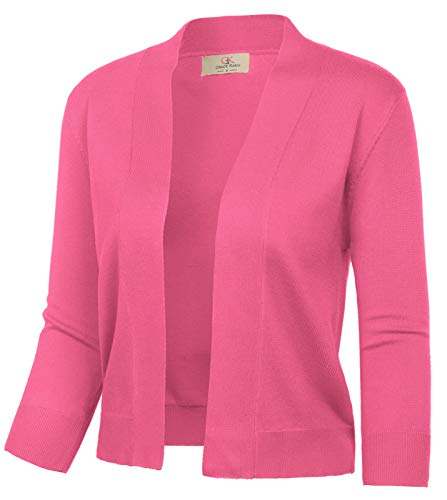 (Xmas Dress Open Front Blouse Blazers for Teen Girls (L,Brink Pink))