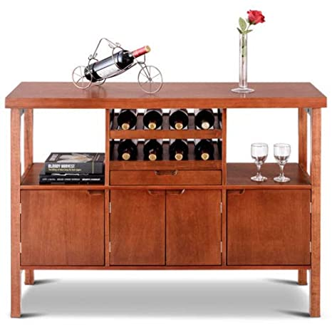 Wooden Buffet Server Table Storage Cabinet W//Wine Rack Sideboard Dining Brown