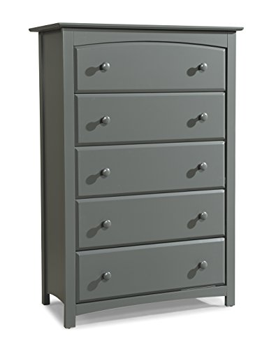 Stork Craft Kenton 5 Drawer Universal Dresser, Gray 10 Drawer Chest Dresser