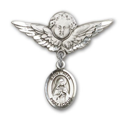 Baseball Angel Pin - Sterling Silver Baby Badge with St. Rita Baseball Charm and Angel with Wings Badge Pin