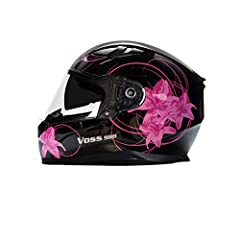 988 Moto-1 Full Face Helmet | Gloss Black Lily  Ladies, don't forget to overdress by beautifying your riding gear with our Black Lily Graphic ;) Voss Riders looking to upgrade their Full Face head gear need to check out the 988 and all it ha...