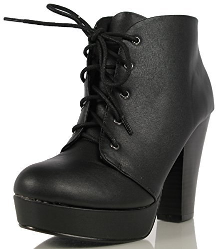 Soda Women's Agenda Ankle Lace Up Platform Chunky Heel Ankle Bootie, Camel, 8 M US (Black PU, 7 M)
