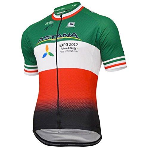 Giordana 2018 Men s Astana Italian Champion Vero Pro Team Short Sleeve  Cycling Jersey - GICS17-SSJY-VERO-ASIT (Astana Italian Champion - L) a11012f85