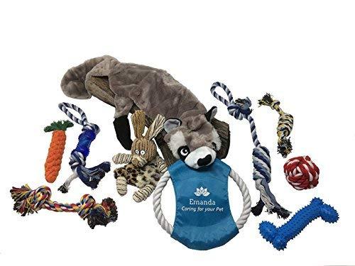 EMANDA WEB SALES Latest Dog Toys | 10 Piece Set -Tough Dogs Chew Toys | Puppy Dog Toys – Small – Medium Size Dogs – Free Storage Bag | Squeak DogToys – Dog Rope Toy – Dog Bones – Christmas Dog Toys