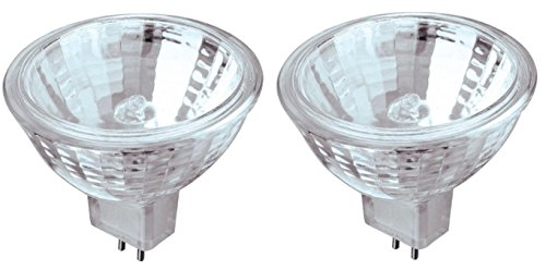 20 Watt MR16 Halogen Low Voltage Xenon Flood Light Bulb 2950K Clear Lens GU5.3 Base, 12 Volt, Card (2-Pack)