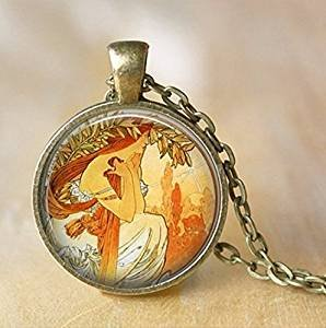 Alphonse Mucha Necklace Glass Pendant Art Nouveau Glass Pendant