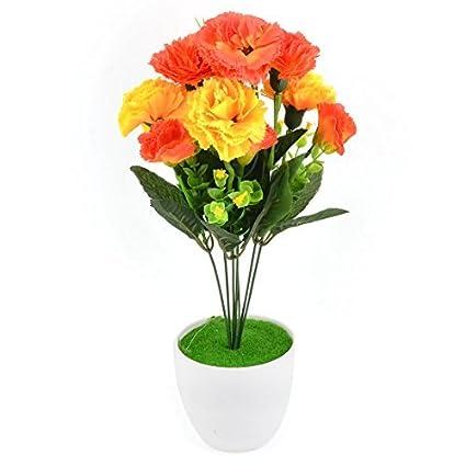 eDealMax Dormitorio plástico DIY de la decoración de la simulación Artificial de Clavel Flor de Naranja