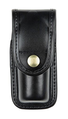 Bianchi AccuMold Elite 7907 Brass Snap Oc Spray Pouch (Plain Black, Large) (Mace Spray Pouch Plain)