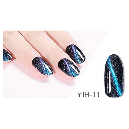 GoodLock (TM)Women's Nail 3D PolishHot!! Ladies Starry Galaxy Cat Eye Shiny Nails Manicure Gradation Cat Eye Gel Magnet Cannot Tear Nail Lasting Sky Soak Off Art UV Fingernail Toenail Makeup (K)