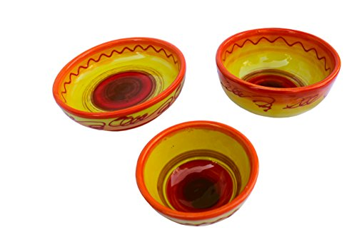 Snack Bowl Set #5 - Hand Painted in Spain - (Sol Design) by Cactus Canyon Ceramics
