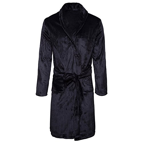 al Velvet Fleece Robe Plush Shawl Collar Kimono Bathrobe Robe Long Bathrobe Lightweight Sleep Robe with Pockets (Black, XL) (Black Velvet Robes)