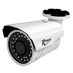 R-Tech CA-IR140-HD 1000TVL Outdoor Bullet Security Camera with New Style SMD High-Intensity IR LEDs for Night Vision and 2.8-12mm Varifocal Lens