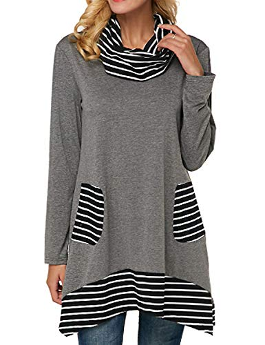 StarVnc Women Cowl Neck Blouse Stripe Patchwork Long Sleeve Tunic Pullover Shirt Tops with Pockets Grey