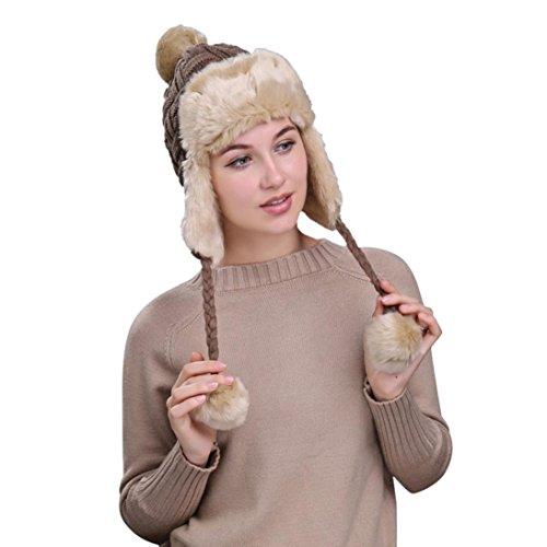 Hunputa Women Hat Winter, Russian Trooper Trapper Hat Winter Windproof Ski Hat With Ear Flaps Warm Hunting Hats For Men Women (Khaki)