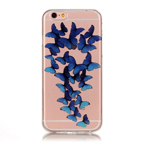 Custodia iPhone 6 Plus / 6S Plus , LH Blu Farfalla TPU Silicone Trasparente Case Cover Cristallo Morbido Custodie per Apple iPhone 6 Plus / 6S Plus 5.5