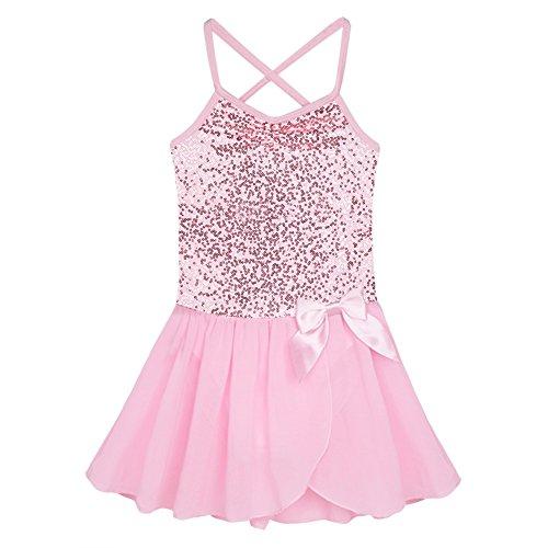 Fire Dancing Costumes (iEFiEL Girls Sequin Camisole Leotard Dress Ballet Tutu Dance Costumes Pink 5-6)