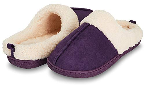 (Floopi Womens Indoor Outdoor Fur Lined Clog Slipper W/Memory Foam (M, Purple-301))