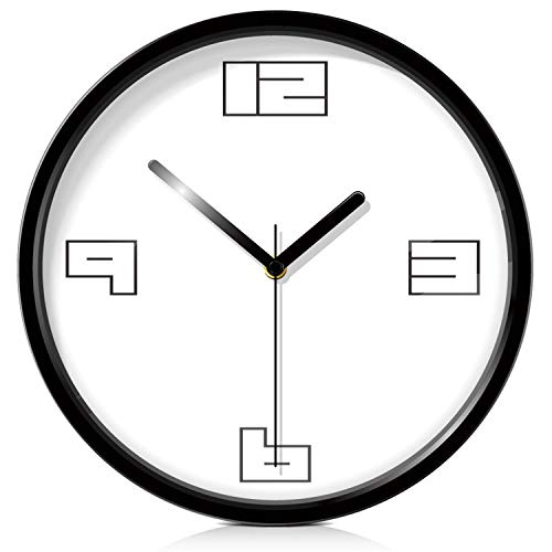 Findyou Modern Wall Clock Metal Decorative Silent Metal Home Deco Grande Acrylic Decorative Wall Clock,Black,12 Inch ()