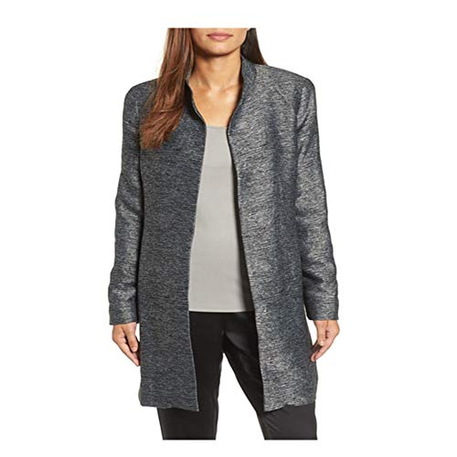 Eileen Fisher Long Silk - Eileen Fisher Charcoal Silk Blend Jacquard Hi Collar Long Jacket L
