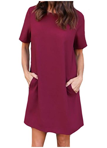 Women Tunic Pockets Sleeve Red Size Plus Pure Dress Casual Short Coolred Tops Wine Oqdw6FgF