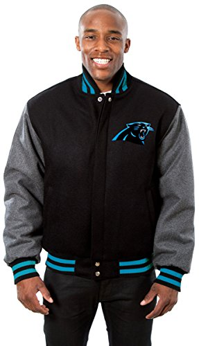 Carolina Panthers Men's Wool Jacket with Hand Crafted Leather Team Logos (6X)