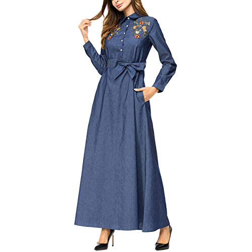 Obxguwn Embroidery Print Jeans Lapel Casual Button Korea Style Retro Long Dress (Color : Deep Blue, Size : M)