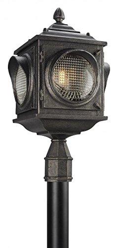 Troy Lighting Main Street 3-Light Outdoor Post Mount - Aged Pewter Finish with Clear Pressed Glass Shade