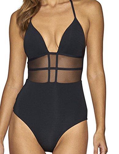 Faithtur Women's One Piece Halter Backless Mesh Panel Swimsuit Swimwear Monokini (US 8/Label L, Black) by Faithtur