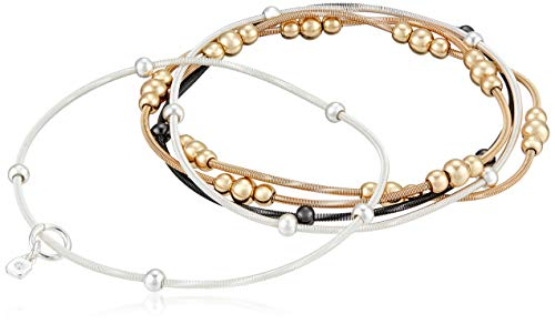 Nine West Women's Classics Tri-Tone 5 Row Stretch Bracelet