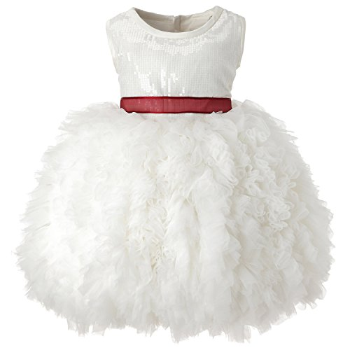 Sweetie Pie Satin Organza Dress (Hanakimi Sequin Tulle Sleeveless Knee-length Pageant Dress JMK1618 (100cm, White))