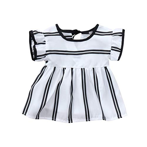 New Baby Clothes Set, Infant Baby Girl Ruffle White Black Stripes Cute Short Sleeve Blouse Tops Outfits White 6M ()