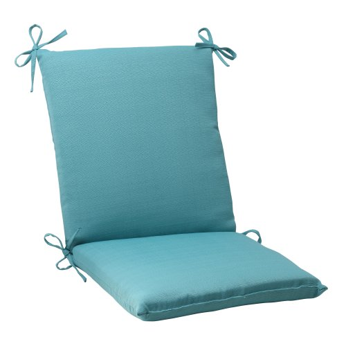 Pillow Perfect Indoor/Outdoor Forsyth Squared Chair Cushion, Turquoise -