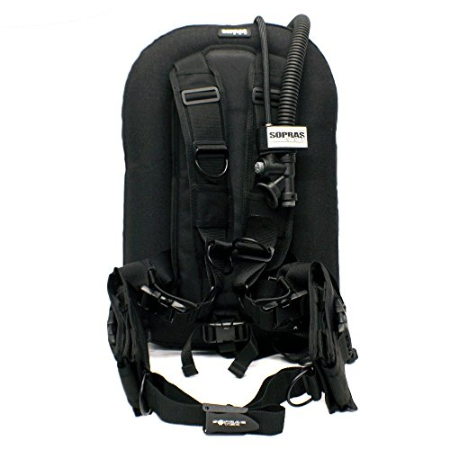SOPRAS TEK Compact Lite BLACK BCD Weight Integrated Harness and Wing Style Travel Dive BC Scuba Diving - One Size SM to XL (Scuba Wing)