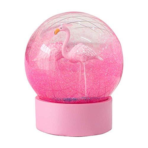 - WSMAX Pink Flamingo Crystal Ball Snowflake Water Cool Snow Globe Snowflaket Decoratio Creative Crafts (Pink)