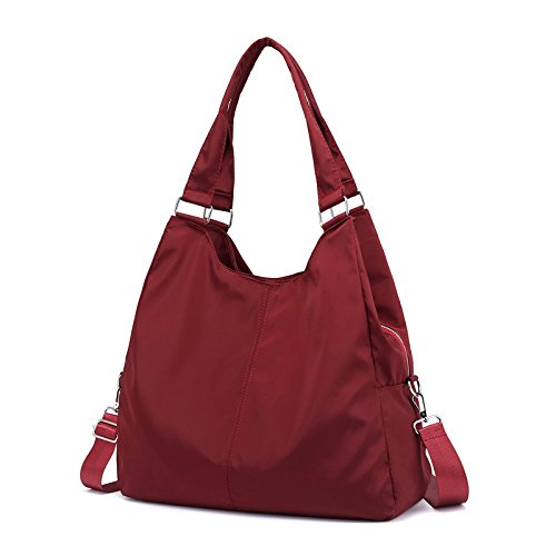 Lady bags Bolsa de Lona para Mujer, de Nailon, Casual, de Gran Capacidad, para Hombro, Bandolera, Bolsa de Tela de Oxford, Morado rojo oscuro